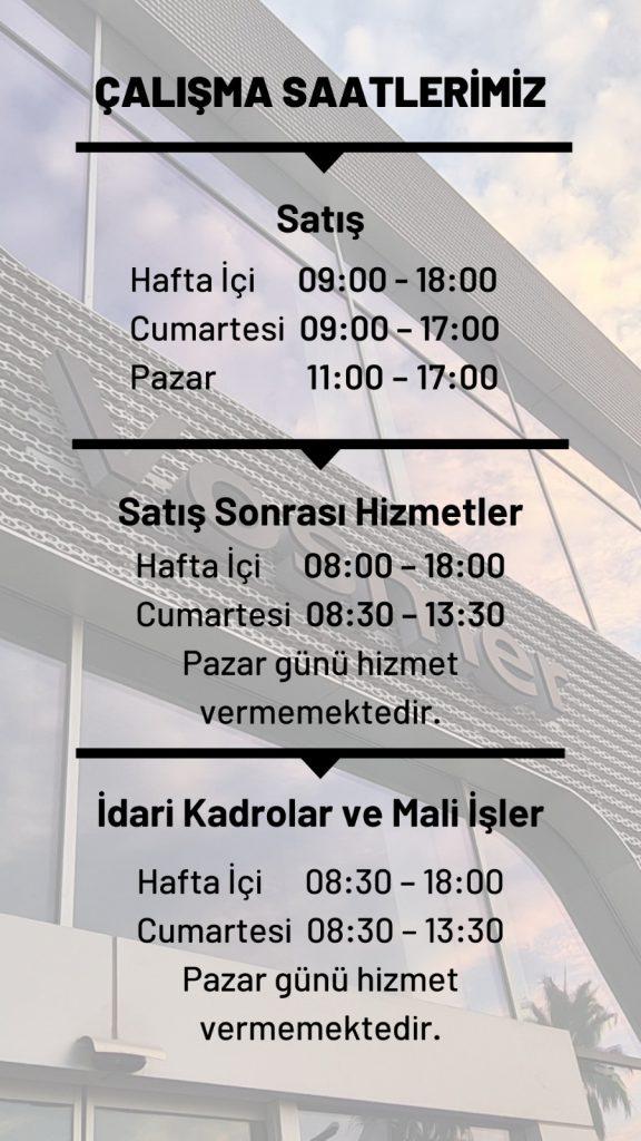 Çalışma saatleri 2021